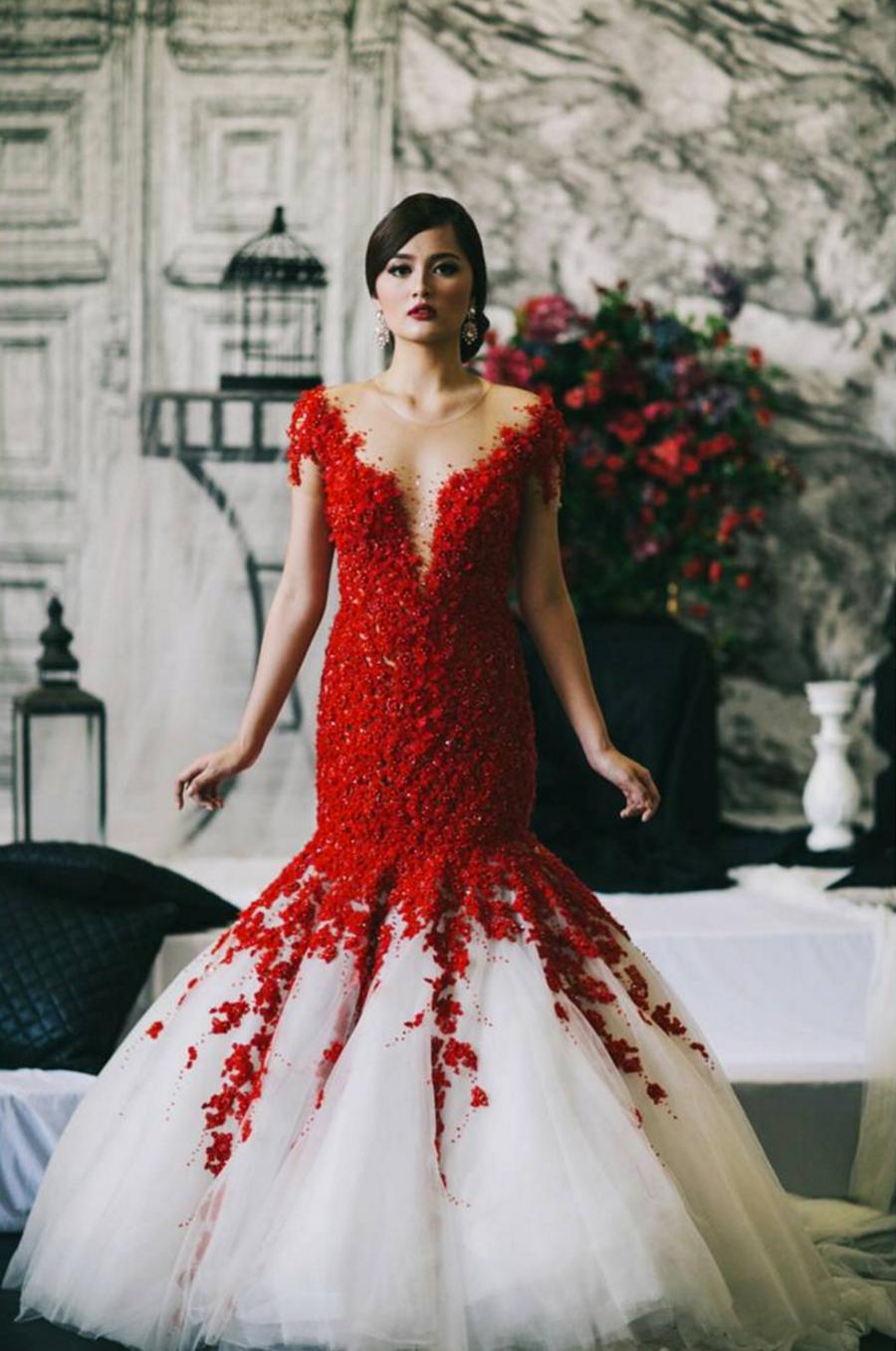 Social Media Sensation Wedding Dress Designer Mak Tumang Red Wedding Gowns Red Wedding Dresses Most Beautiful Wedding Dresses [ 1357 x 900 Pixel ]
