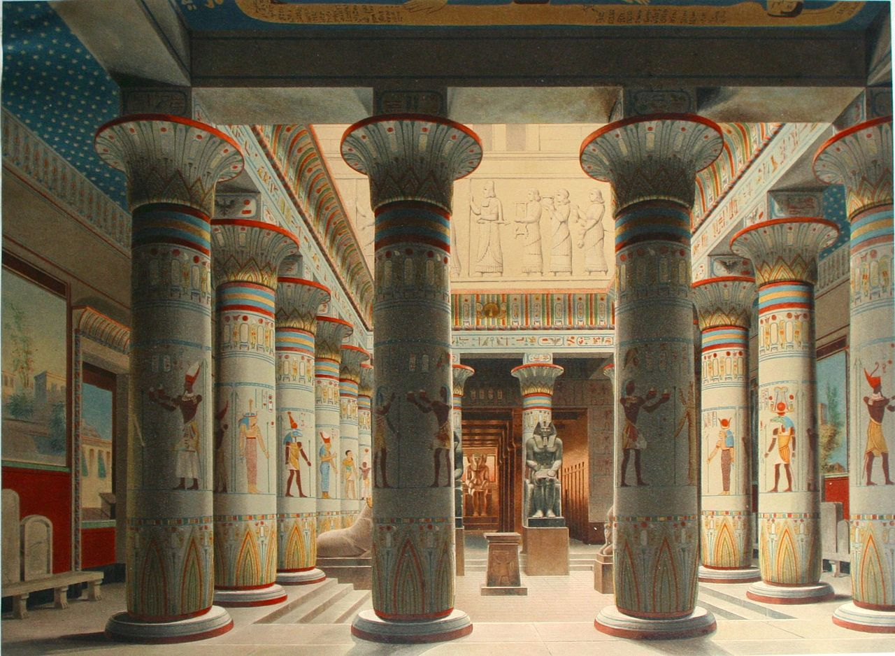 The Egyptian courtyard, from Friedrich August Stüler, Das Neue Museum in Berlin, Riedel 1862