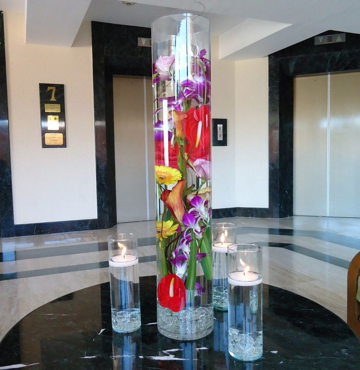 Tropical flowers modern centerpiece quot tall crystal