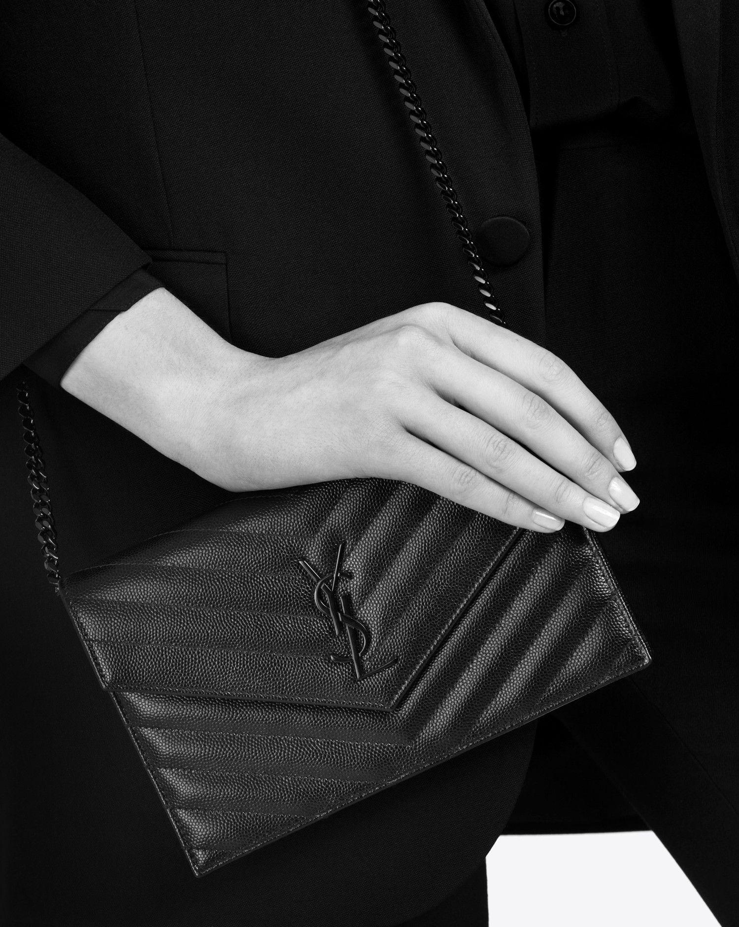Saint Laurent Monogram Large Chain Matelasse Shoulder Bag