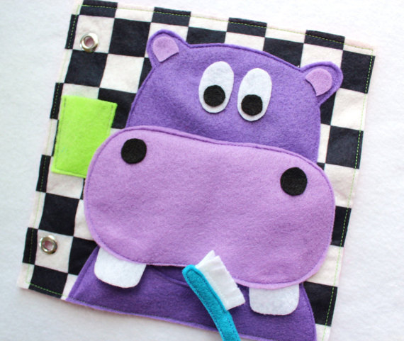 Custom Hand Crafted Quiet Book Page Happy Brushing Hippo Single