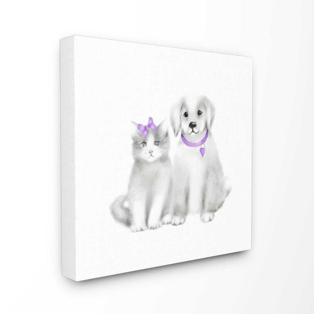 The Kids Room By Stupell 30 In X 30 In Cute Cartoon Baby Cat And Dog Family Pet Painting By Studio Q Canvas Wall Art Brp 2423 Cn 30x30 Animal Paintings Family Painting Canvas