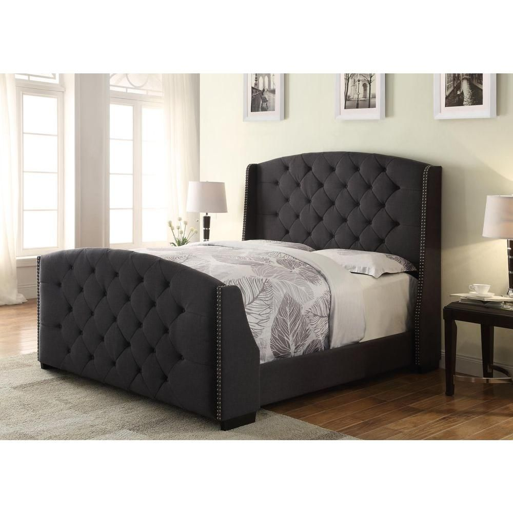 All in 1 queen size linosa upholstered headboard footboard and bed frame in charcoal grey