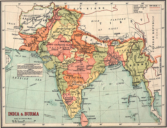 Cartina India.India Map 1940 Countries Nations Atlas Antique Map 9 X 7 Inches Bombay Calcutta Map Map Of Cities Map India Map Antique Map
