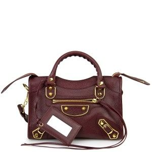 5b7a1240d03b Balenciaga Bordeaux Classic Metallic Edge Mini City Bag