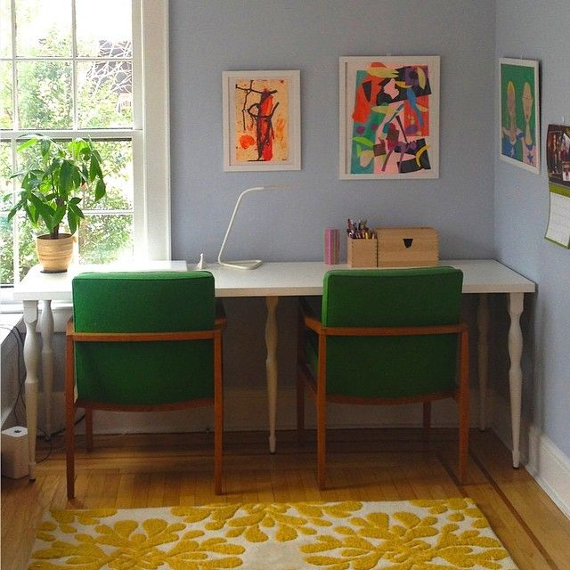 A Vibrant Home Office Brought To Life With Vintage Kelly