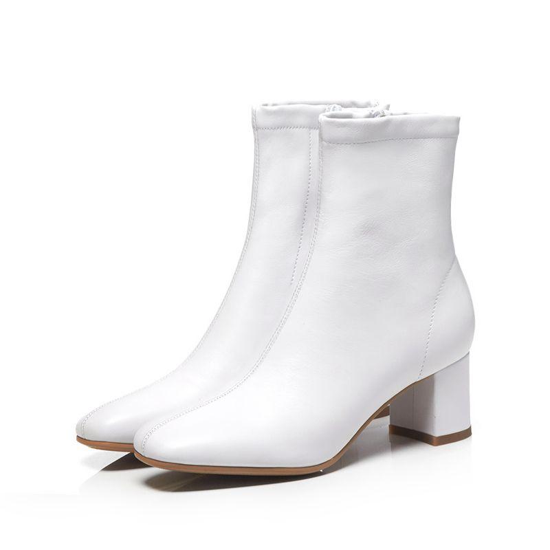 a07591e36da Arden Furtado 2018 autumn winter genuine leather burgundy white ankle boots  women s shoes ladies matin boots