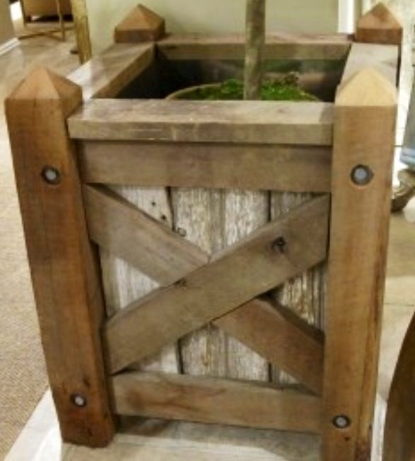 Wood And Galvanized Corrugated Metal Deck Planter Boxes Tree Planters Wood Planters Rustic Planters