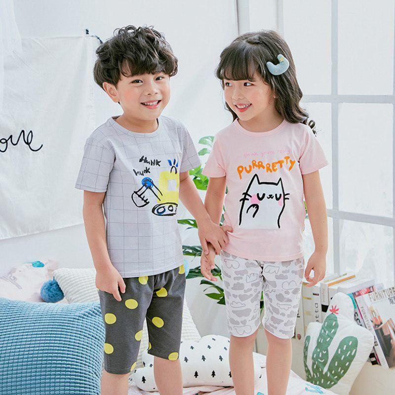 3d2cc833c8e1 Baby kids Pajamas Set Summer Children Short Sleeve Cotton Sleepwear ...