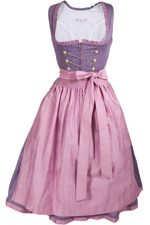 4f89e534098dd8 Midi Dirndl Tessa in lila / flieder mit rosa Details und Schnürung ...