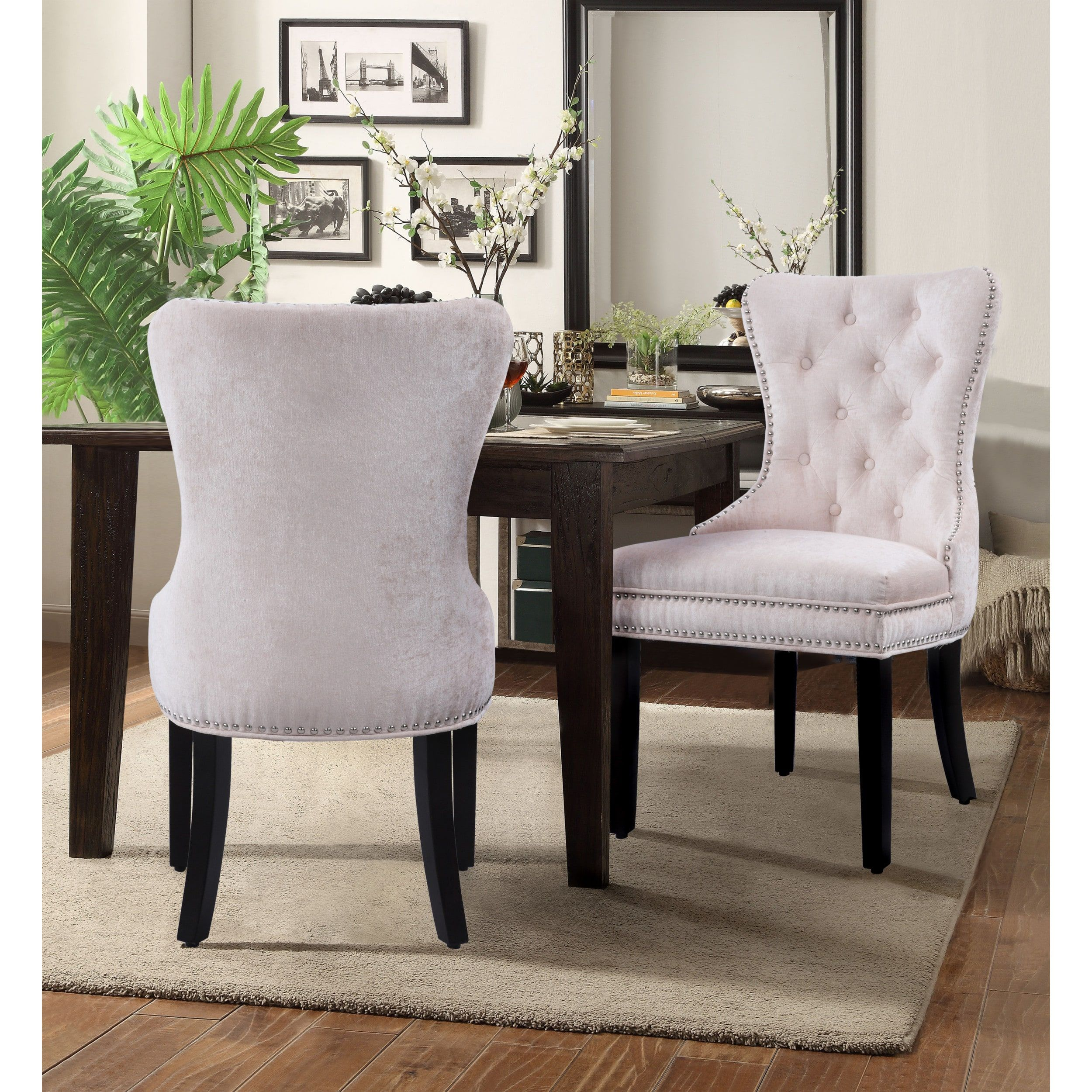 Best Chic Home Velvet Upholstery Dining Accent Chairs Set Of 2 400 x 300