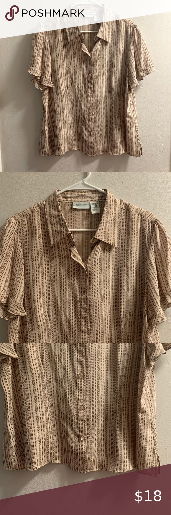 Jaclyn Smith Button Down Striped Shirt Stripped Clothes Design