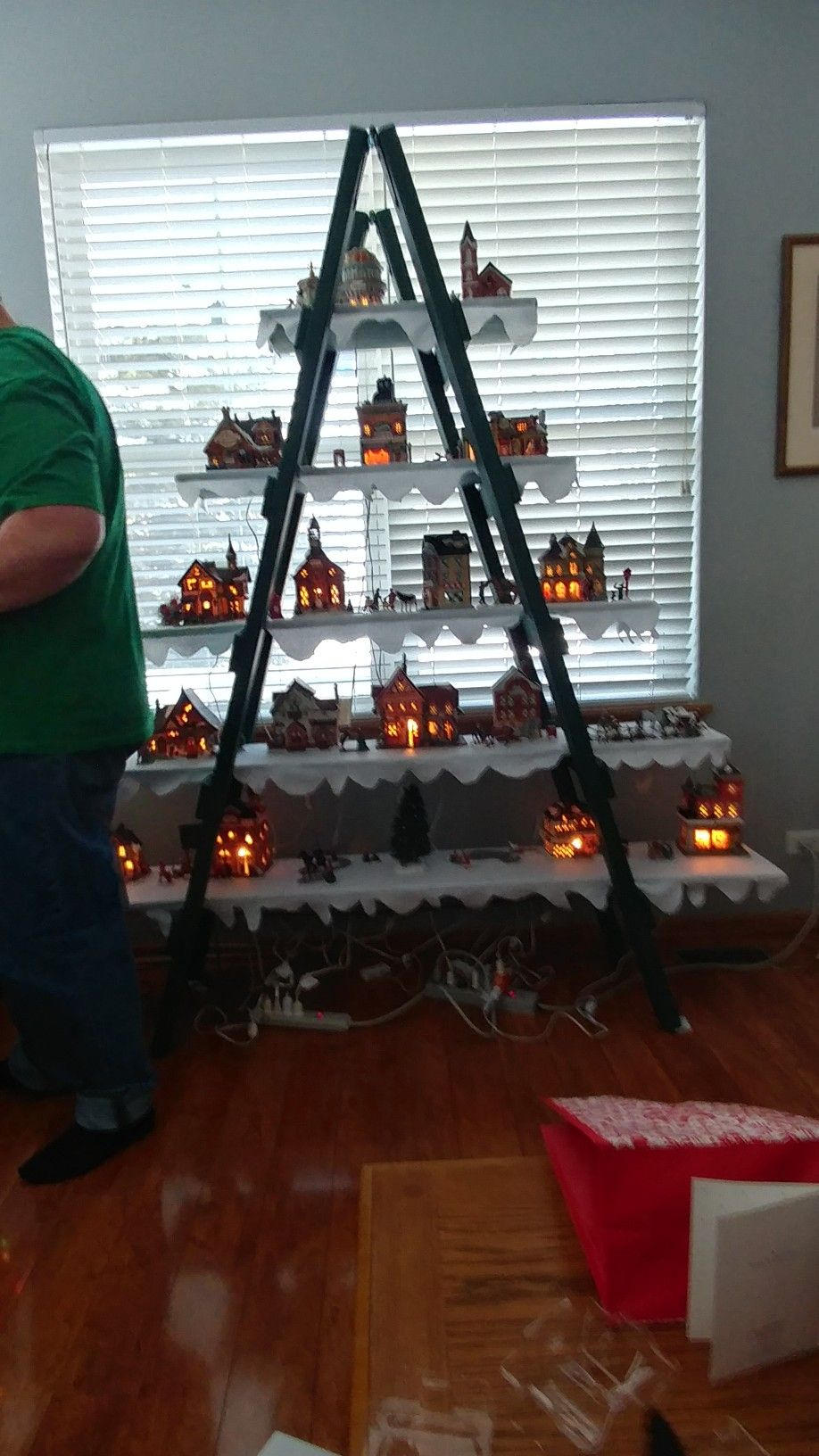 Here S Our Christmas Village Ladder Tree 7 Tall Not Too Difficult To Make Boards Have Felt On Top Rustic Christmas Christmas Village Christmas And New Year