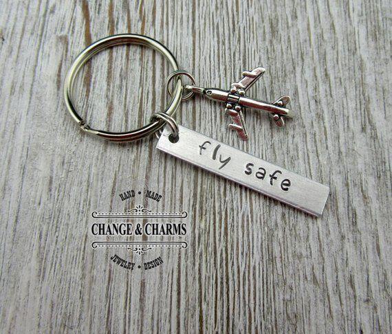 fly safe keychain pilot gift airplane keychain airplane traveling keychain fly safe. Black Bedroom Furniture Sets. Home Design Ideas