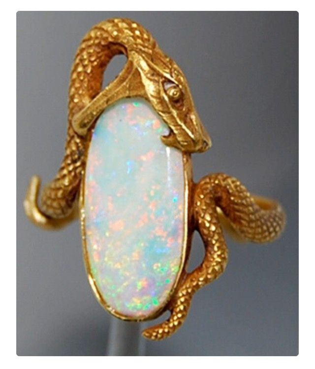 Gold snake over opal Beautiful Pinterest Snake Jewel