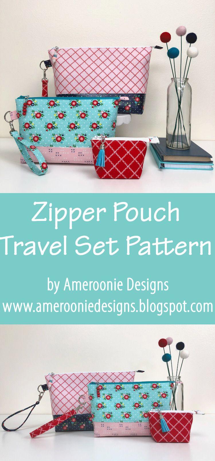 Zipper Pouch Set Pattern Pouch Pattern Zipper Travel Pouch Pouch Sewing
