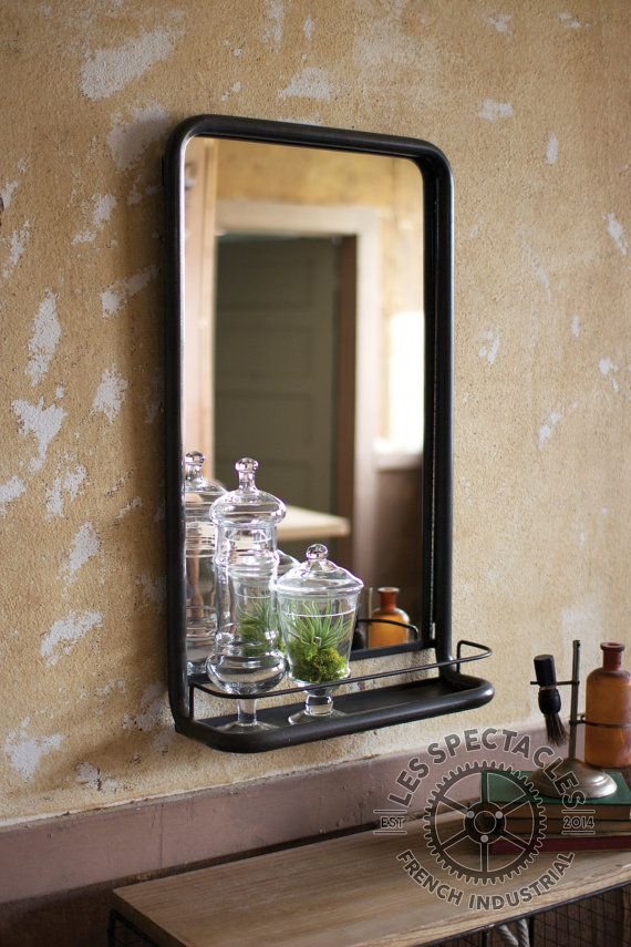 Metal Frame Pharmacy Mirror With Shelf By LesSpectacles On Etsy