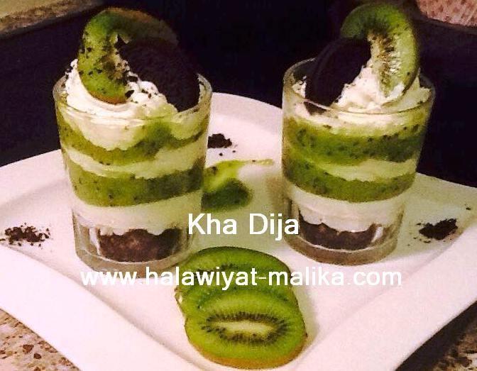 حلا الكاسات بالأوريو والكيوي Mini Cheesecake Food Desserts