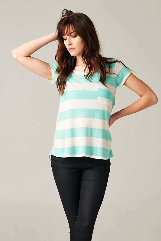 Lucca Tee in Mint and Chiffon Contrast
