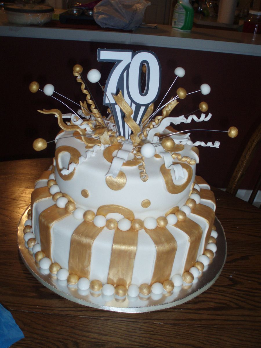 70Th Birthday Cake Fondant Covered White Cakeplease Let Me Know What You Think
