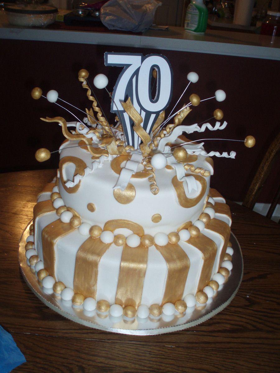 70th Birthday Cake Fondant Covered White Cakeplease Let Me