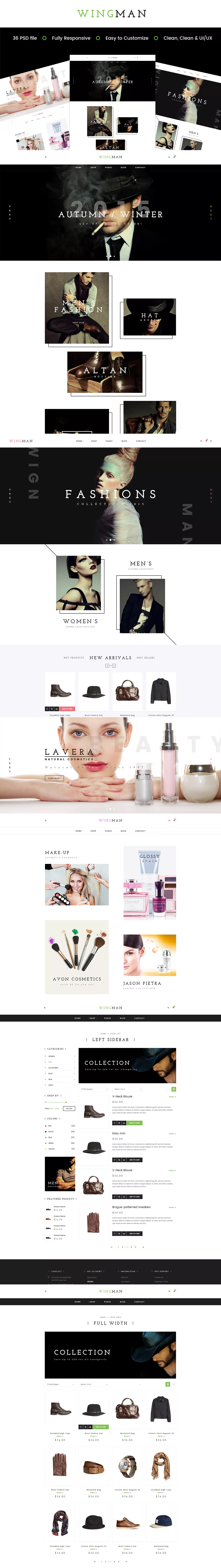WINGMAN - E-Commerce and Blog PSD Theme | Website Design Templates ...