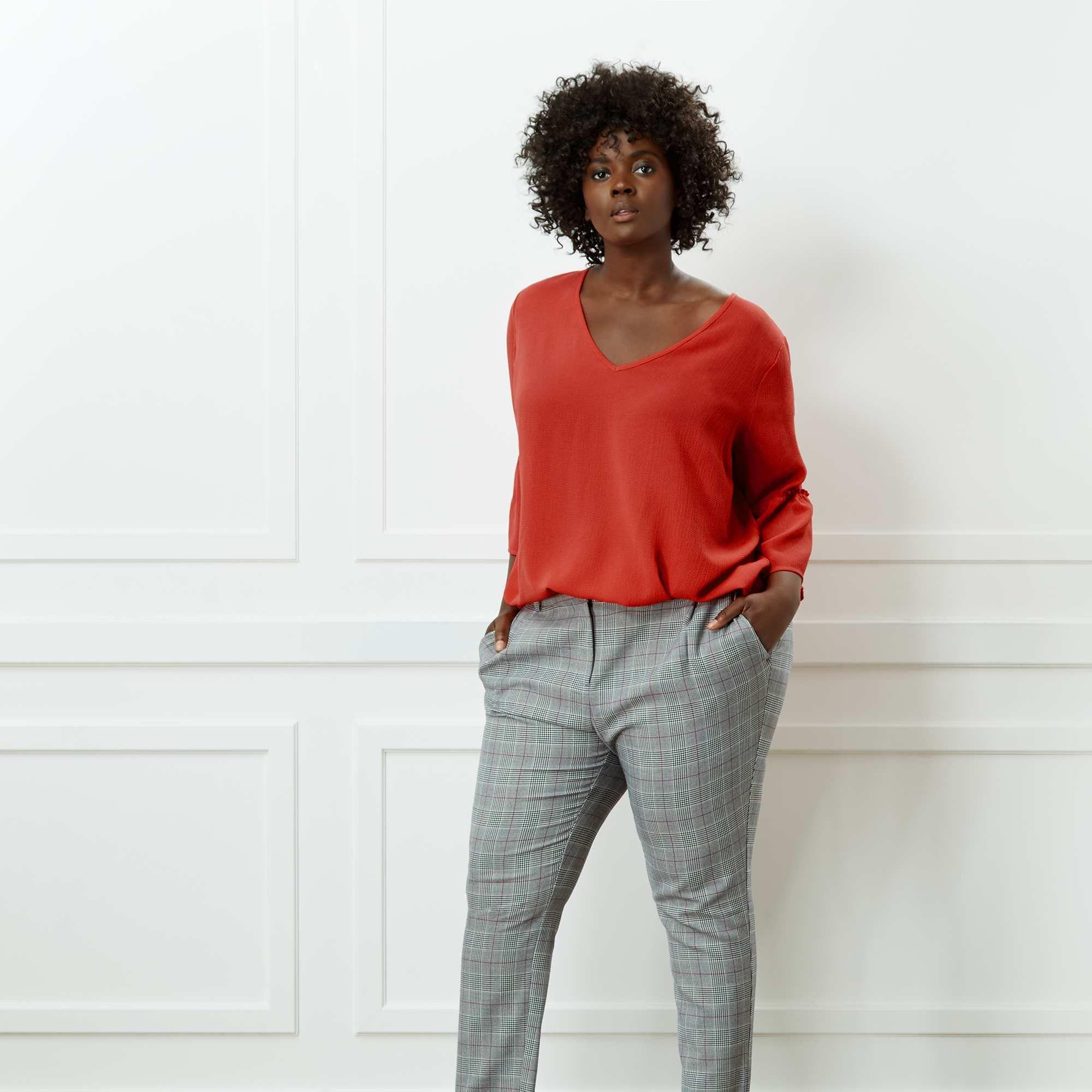 e2d802b9bde4 Pantaloni dritti stampa Principe di Galles Taglie forti donna - nero - Kiabi  - 25