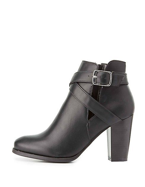 Faux Leather Cut-Out Ankle Booties | Charlotte Russe