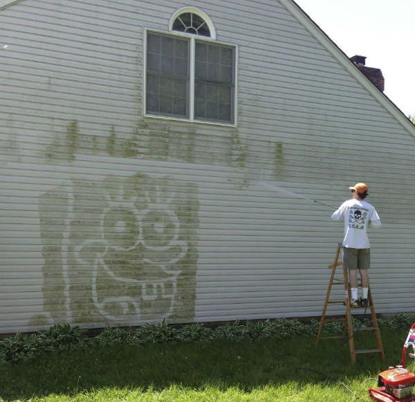Power Washing House With Ladder And Goofy Drawing Funny Picture