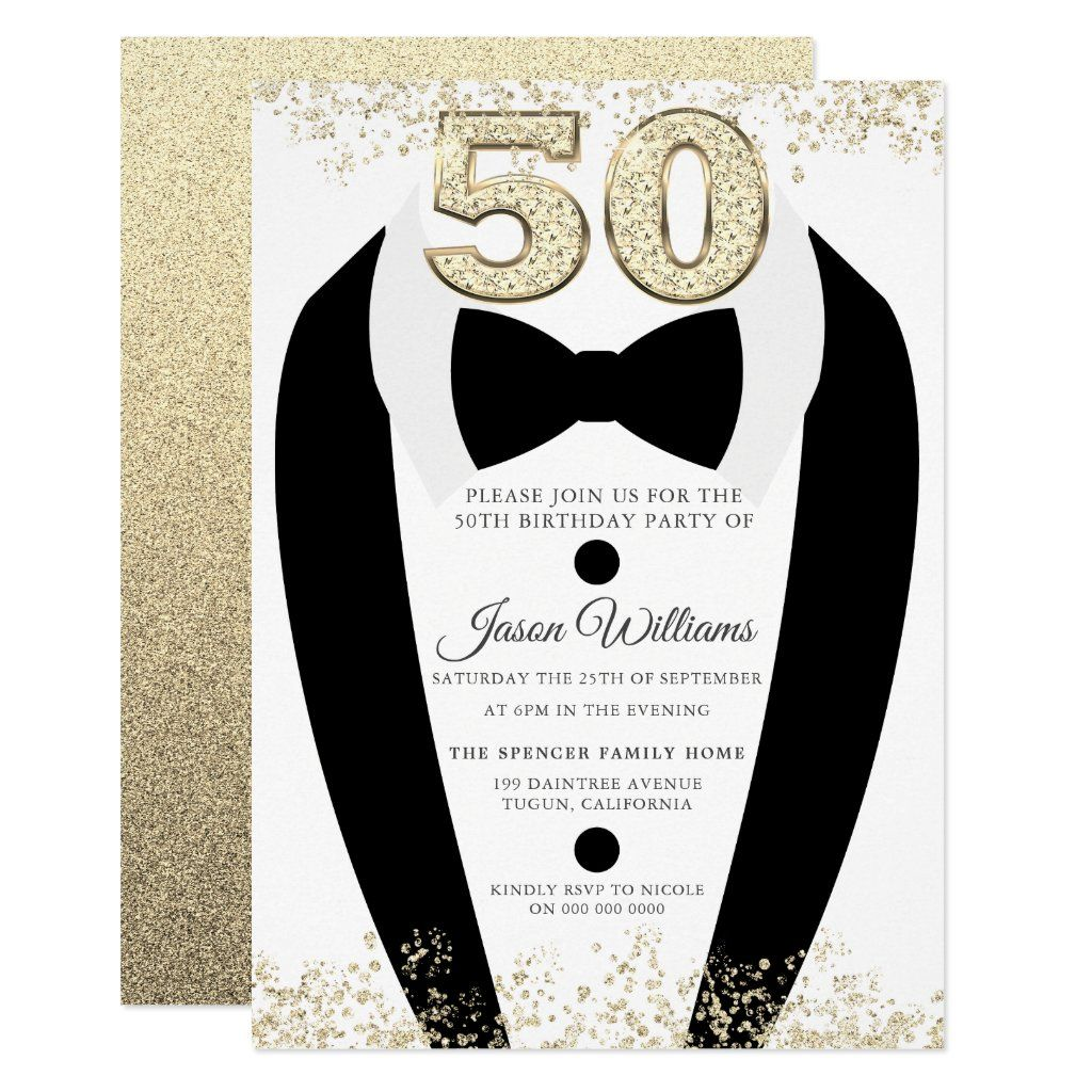 Black Tuxedo Suit Gold Mens 50th Birthday Party In