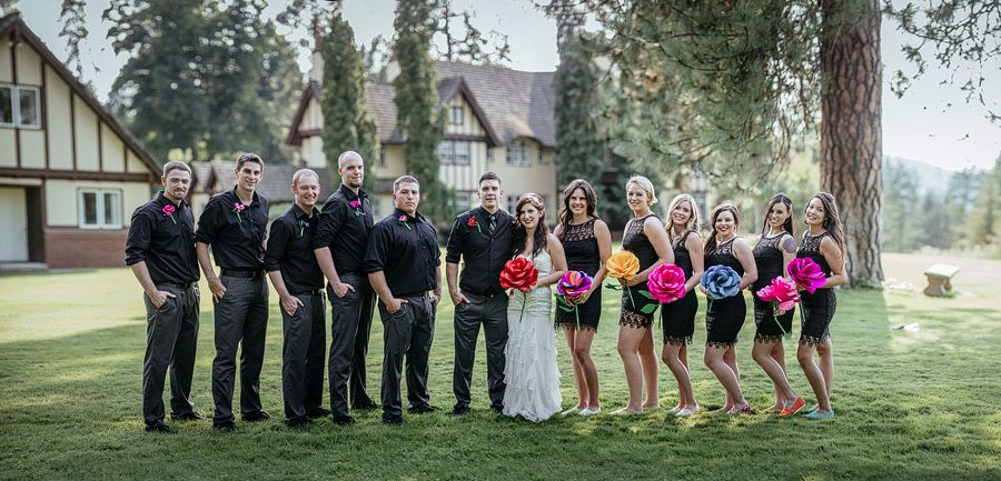 Matt Shumate Photography at Bozarth Mansion wedding party portrait black dresses and large flower for bouquets
