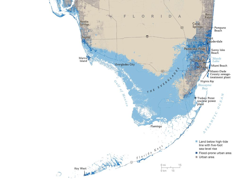 Florida Areas At Risk To A Five Foot Sea Rise Interesting Maps