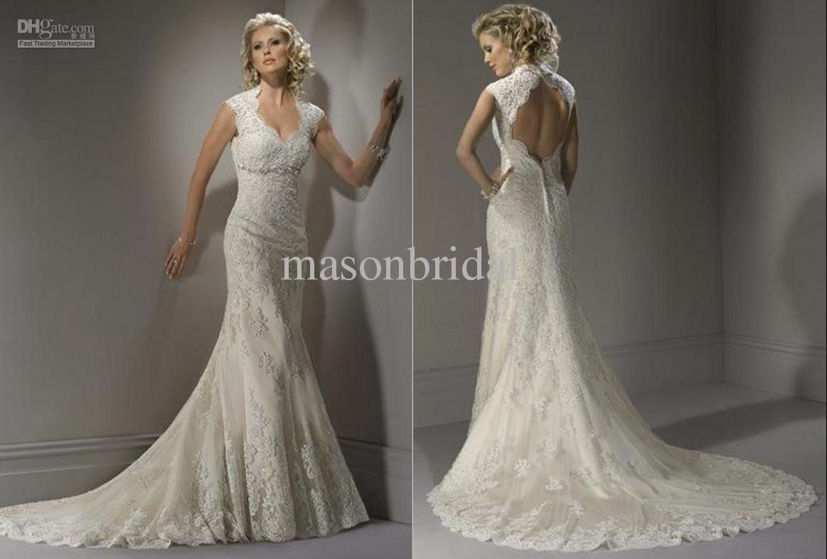 Lace mermaid wedding dress with train  Hot New Elegant Mermaid Bridal Gowns Lace Sweetheart Open back Court