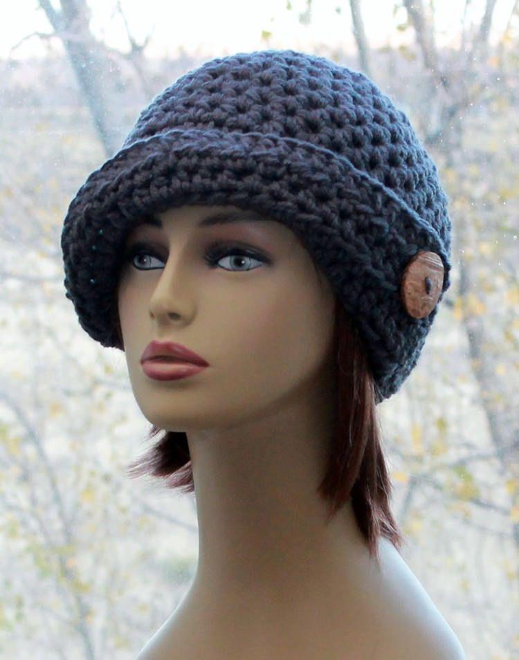 Womens Crochet  Hat  asymmetrical brim cloche style women's 20's  hat, coconut button,  winter accessories hat in charcoal grey