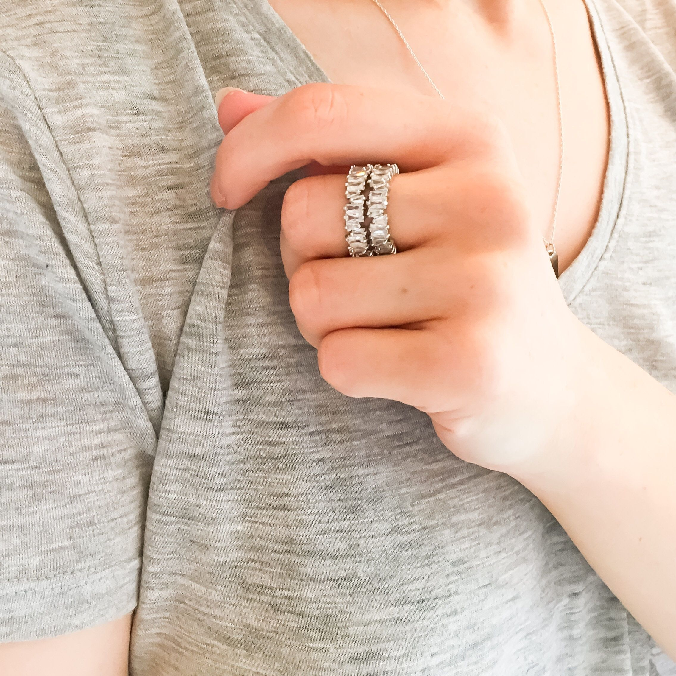 b703cb4a4 Baguette Ring || CZ Stone || Eternity Ring || Gifts For Her || Kylie Jenner  || Band Ring || Silver Jewelry || Glam Ring || Ice Ring by MilanoBay on Etsy