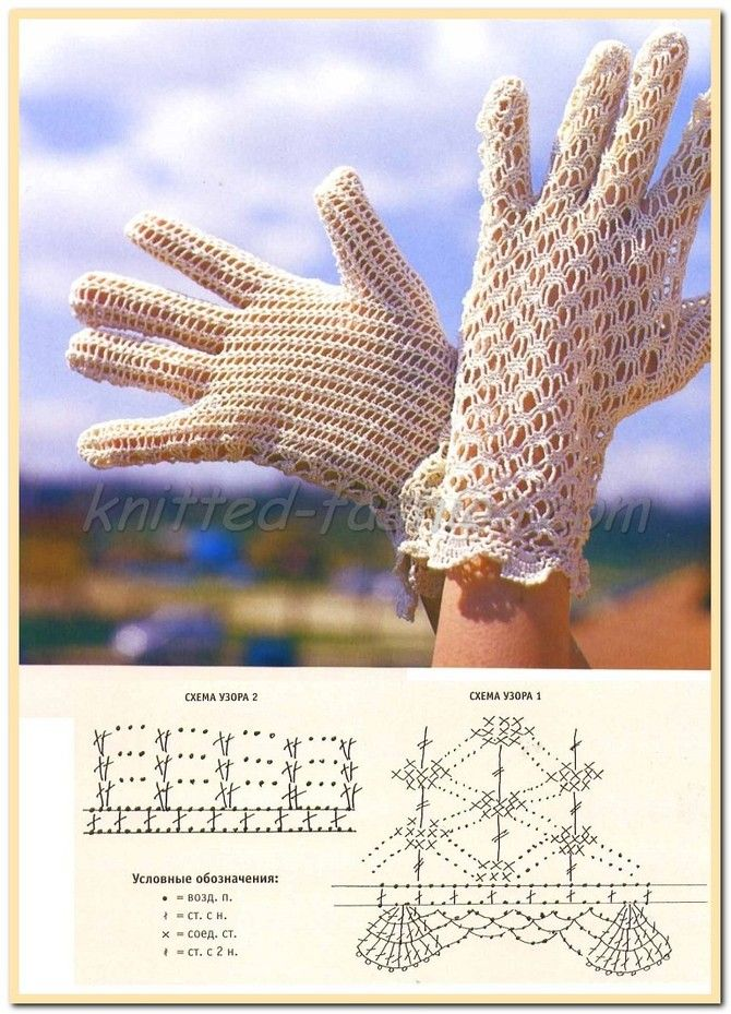 ажурные перчатки крючком схемы и описание