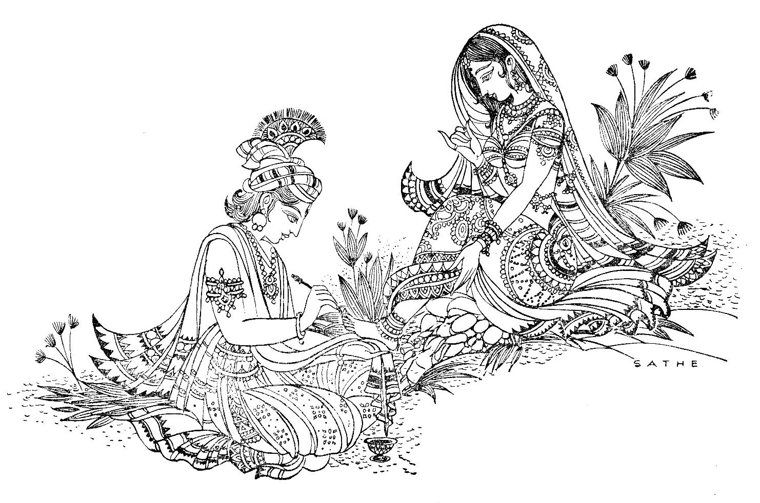 Black And White Pictures Of Radha Krishna Google Search Indian Art Paintings Krishna Painting Madhubani Painting