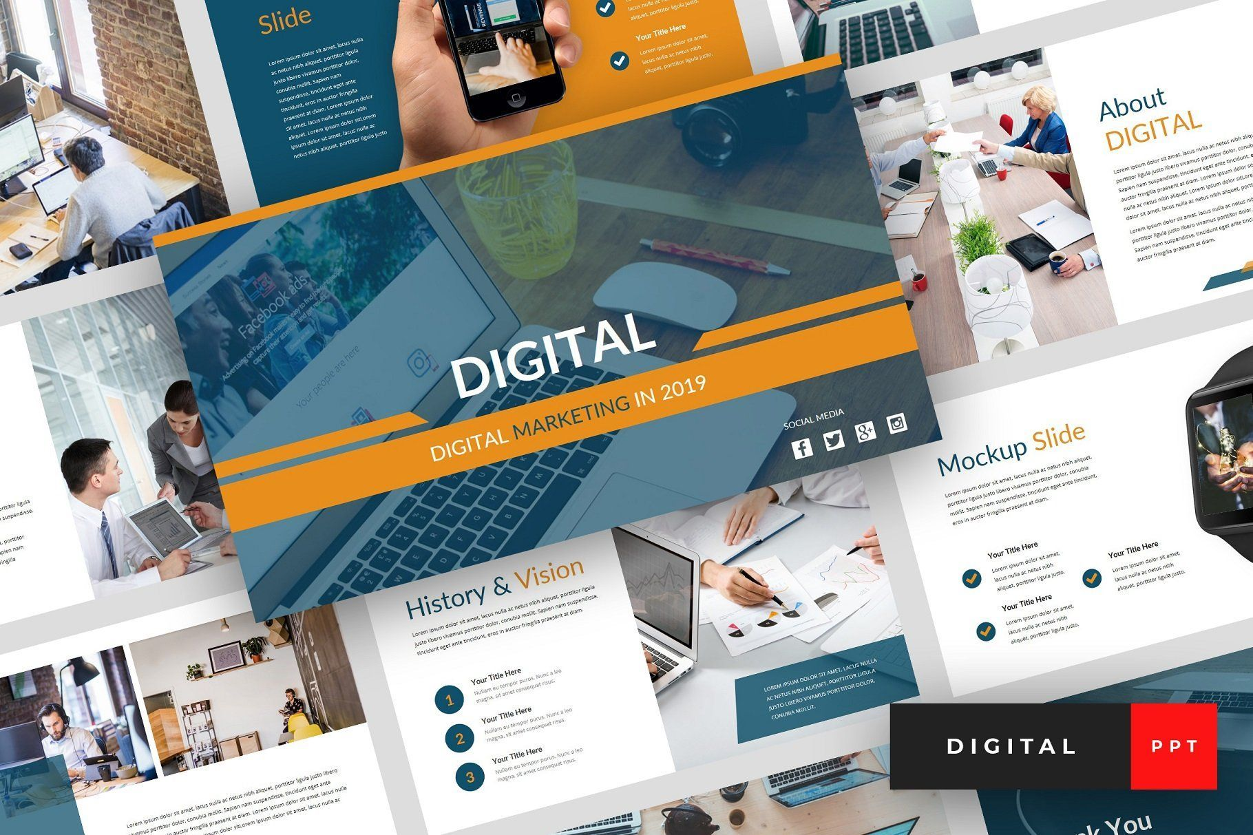 Digital Powerpoint Template Digital Marketing Keynote Template Powerpoint Templates