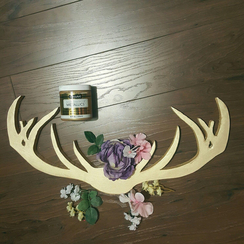 Floral deer antlers woodland nursery decor antler decor wood