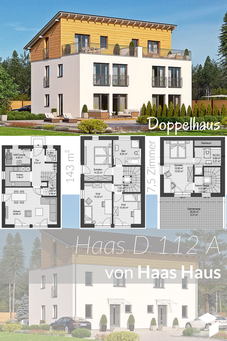 Bevorzugt Ein modernes Doppelhaus von Haas Haus mit Pultdach ➤ Klick auf MW48