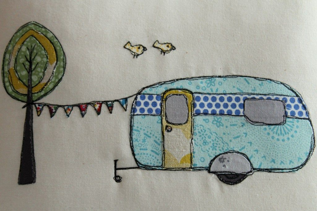 Retro Caravan Cushion | Free motion applique ... link to tutorial ...
