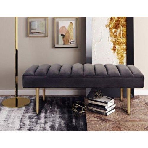 Sumptuous Dark Grey Velvet Bench Gold Legs | Upholstered ...