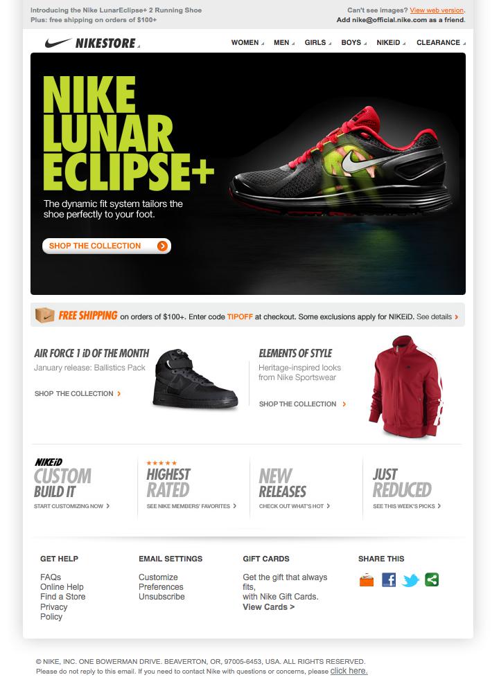 Aprendiz Clancy Aprobación  Nike email design | Email design, Nike lunar eclipse, Design