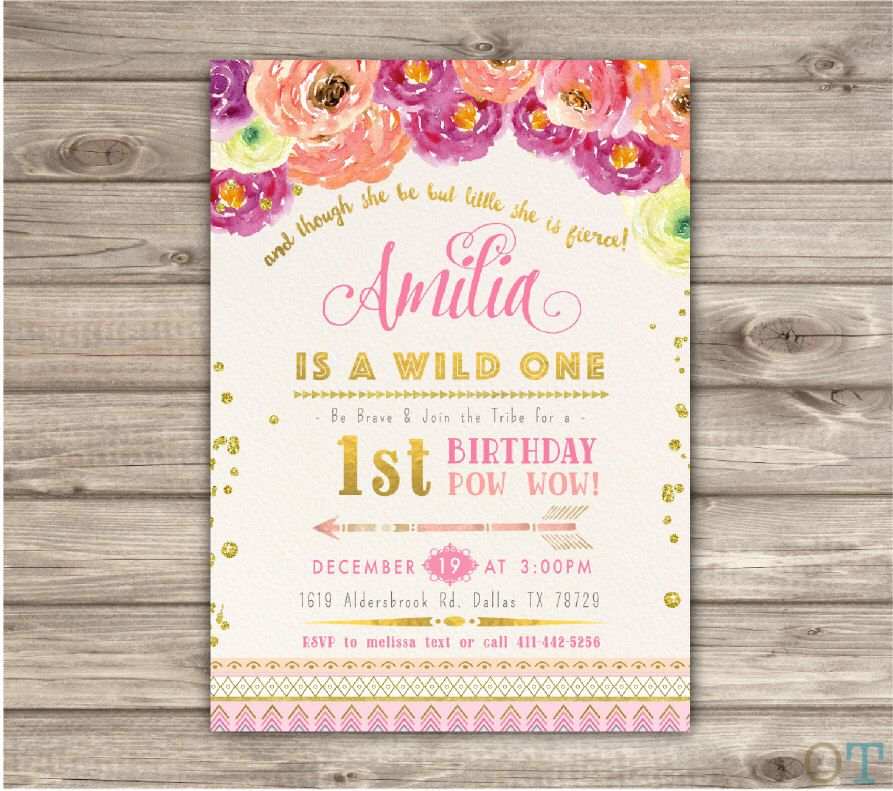 Wild one birthday invitations pink and gold party girl first zoo wild one birthday invitations pink and gold party girl first zoo animals invitation template boho zoo birthday tribal safari arrow nv657 stopboris Choice Image