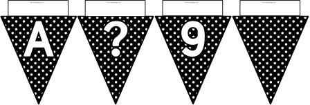 Free printable Black Polka Dot Bunting, A-Z, ?!&, numbers 0-9 and a blank flag all in one file.  Click image to download.