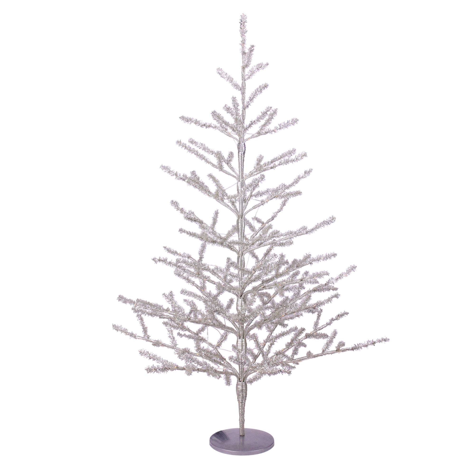 3 Pre Lit Silver Tinsel Twig Artificial Christmas Tree
