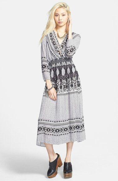 Tripbal, grey, hippie, folk, bohemian, gypsy style Free People 'She's A Lady' Print Deep V-Neck Midi Dress