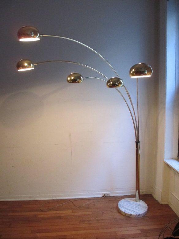 5 Arm Arc Brass Marble Floor Lamp Circa 1960 S Floor Lamp Arc