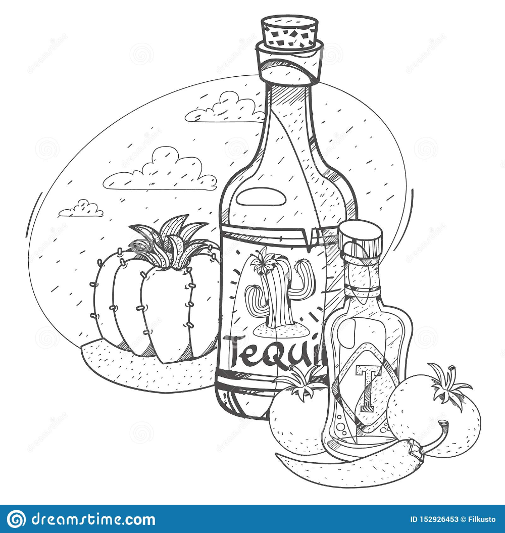 Tomato Ketchup And Tequila Hot Sauce Illustrations Coloring In 2021 Tomato Ketchup Hot Sauce Ketchup