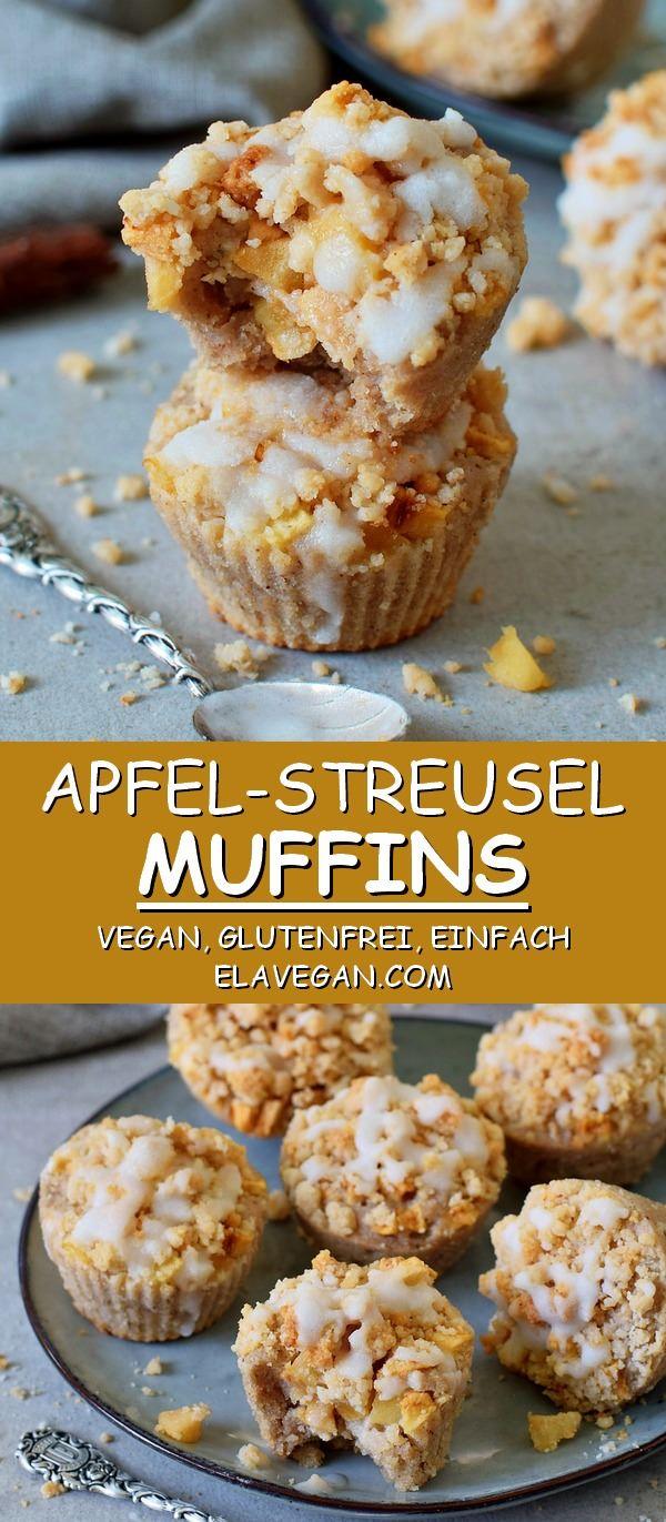 Apfel Streusel Muffins Rezept | Vegan, Glutenfrei, Einfach - Elavegan